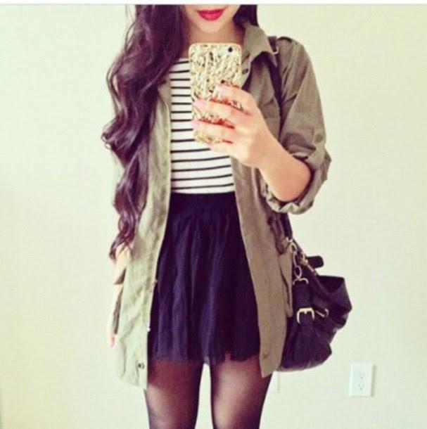 coat nice fashion clothes jacket style skirt