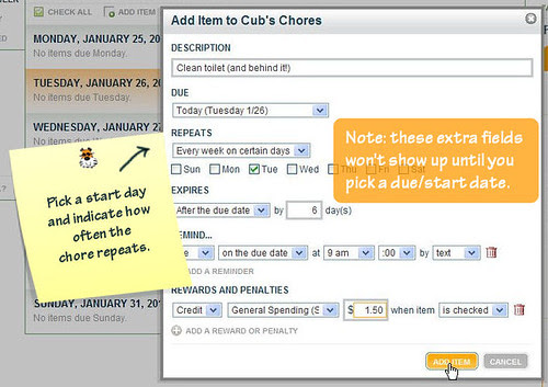 Selecting the Chore Start Date