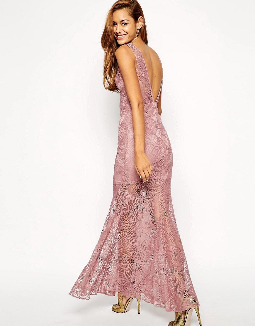 Rochie roz de dantela transparenta Asos
