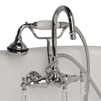 Cambridge Clawfoot Tub Brass Wall Mount Faucet With Hand Held