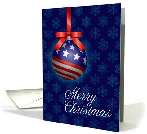 Patriotic American Flag Christmas Ornament with Bow card