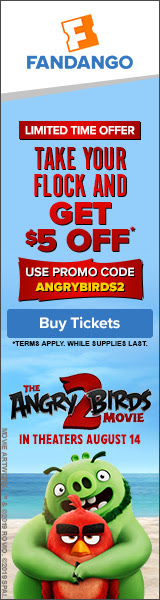 160x600 Fandango: Get $5 off two or more tickets with promo code ANGRYBIRDS2