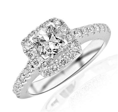 1.26 Carat Square Halo Diamond Engagement Ring (I Color