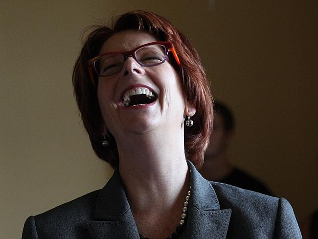 Julia Gillard was having the last laugh last night. Picture: Richard Dobson