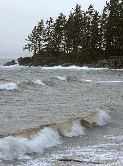 waves head to the beach at Kasaan, Alaska