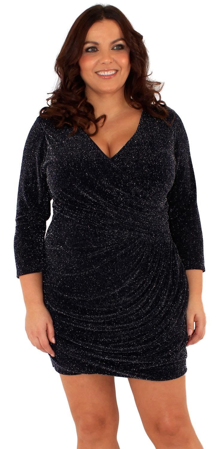 new ladies plus size glitter wrap over sparkle drape dress