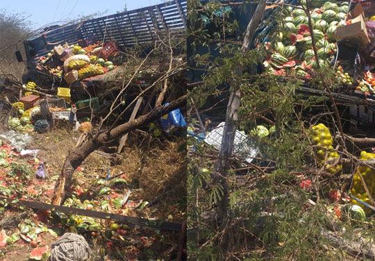 Caminhão vinha de Juazeiro e tinha como destino a feira livre de Queimadas | Foto: Notícias de Santaluz