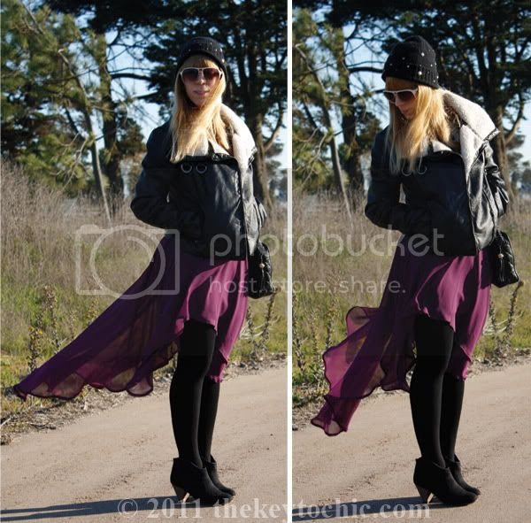 Zara studded beanie, H&M aviator jacket, high low skirt, Mossimo Kacey boots, Los Angeles fashion blogger