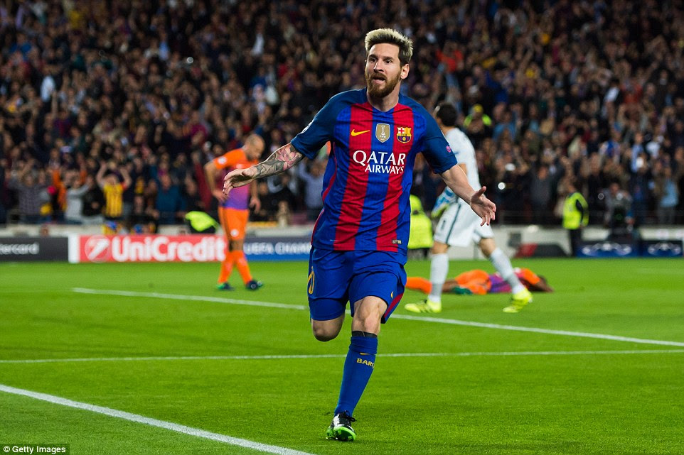 Lionel Messi celebrates scoring against Manchester City in the Champions League a fortnight before facing them again