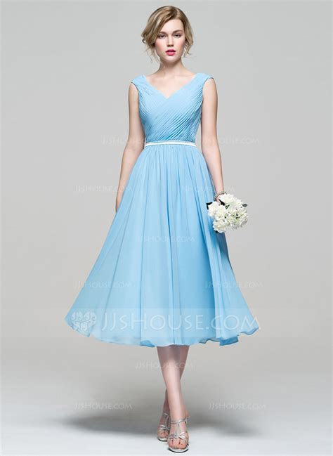 A Line/Princess V neck Tea Length Chiffon Bridesmaid Dress