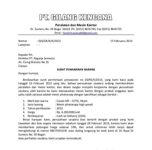 Surat Penawaran Pt: Contoh Surat Niaga Tagihan