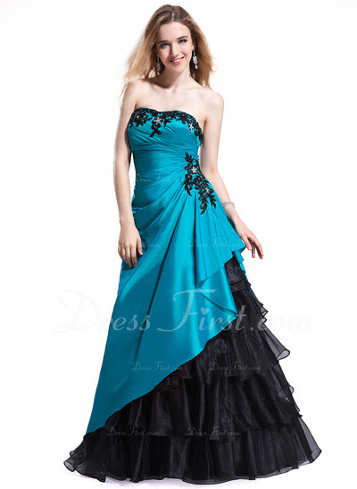 A-Line/Princess Sweetheart Floor-Length Taffeta Organza Prom Dress With Lace Beading (018025298)