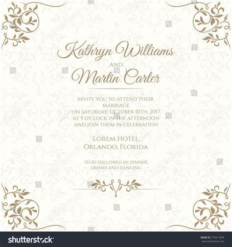 Invitation Card Floral Seamless Pattern Wedding Stock