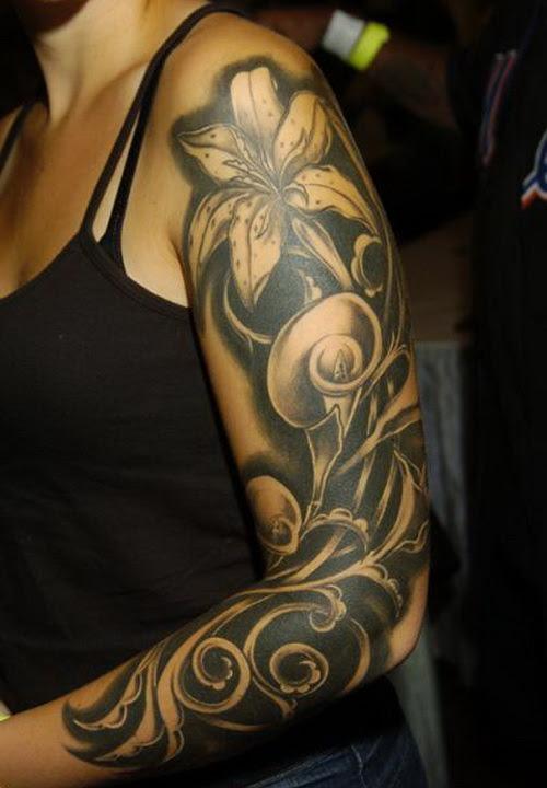 Black Flower Tattoo Sleeve Tattoos Designs Ideas