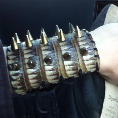 gnarlijen:  Never been so obsessed with a piece of jewelry ! My husband is a fuckin genius for creating it ( from a dead Armadillo on the side of the road )