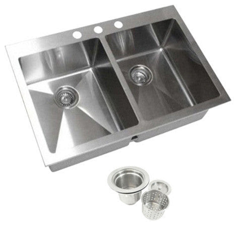 Top Mount Drop In 304 Stainless Steel Double Bowl Kitchen Sink
