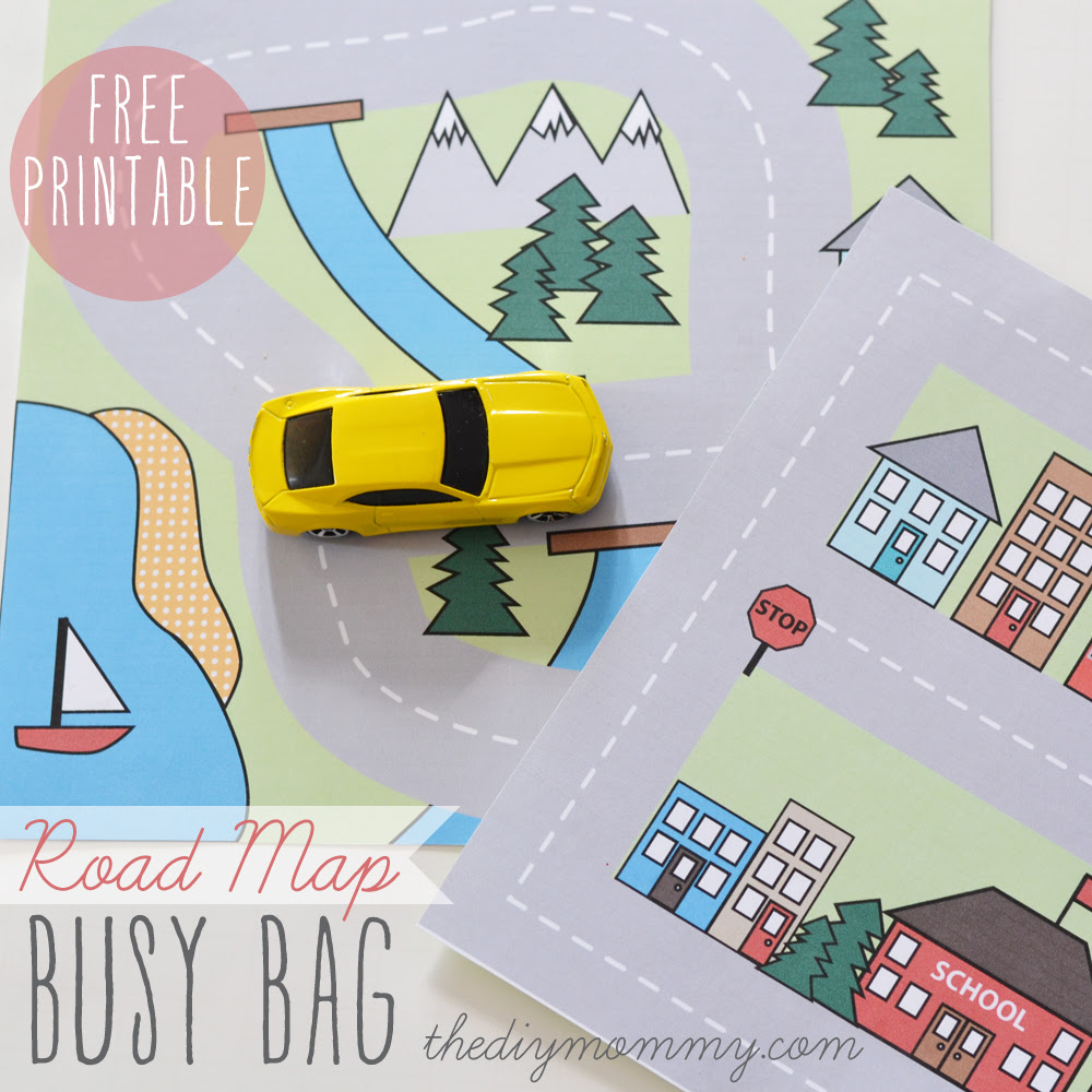 Make A Mini Road Map Busy Bag Free Printable The Diy Mommy