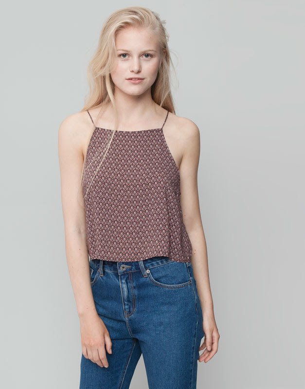Pull&Bear - mujer - blusas y camisas - crop top estampado corbatero - granate claro - 09471361-I2015