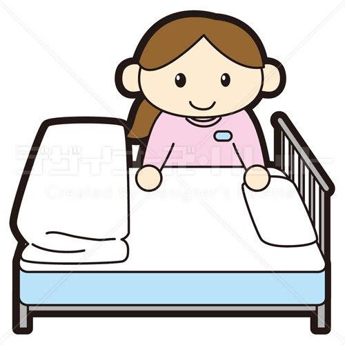 ベッドメイクをする女性看護師 イラパレロイヤリティフリーの