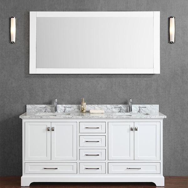 Stufurhome 72 Newport White Double Sink Bathroom Vanity With Mirror