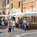 Restaurants and cafes serving kosher food line the Via del Portico d'Ottavia in the old Jewish ghetto of Rome.