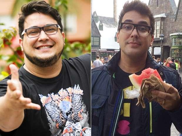 André Marques em foto de outubro de 2013 e em imagem postada por ele em 23 de fevereiro de 2014 Foto: TV Globo/Divulgação/Instagram / Reprodução