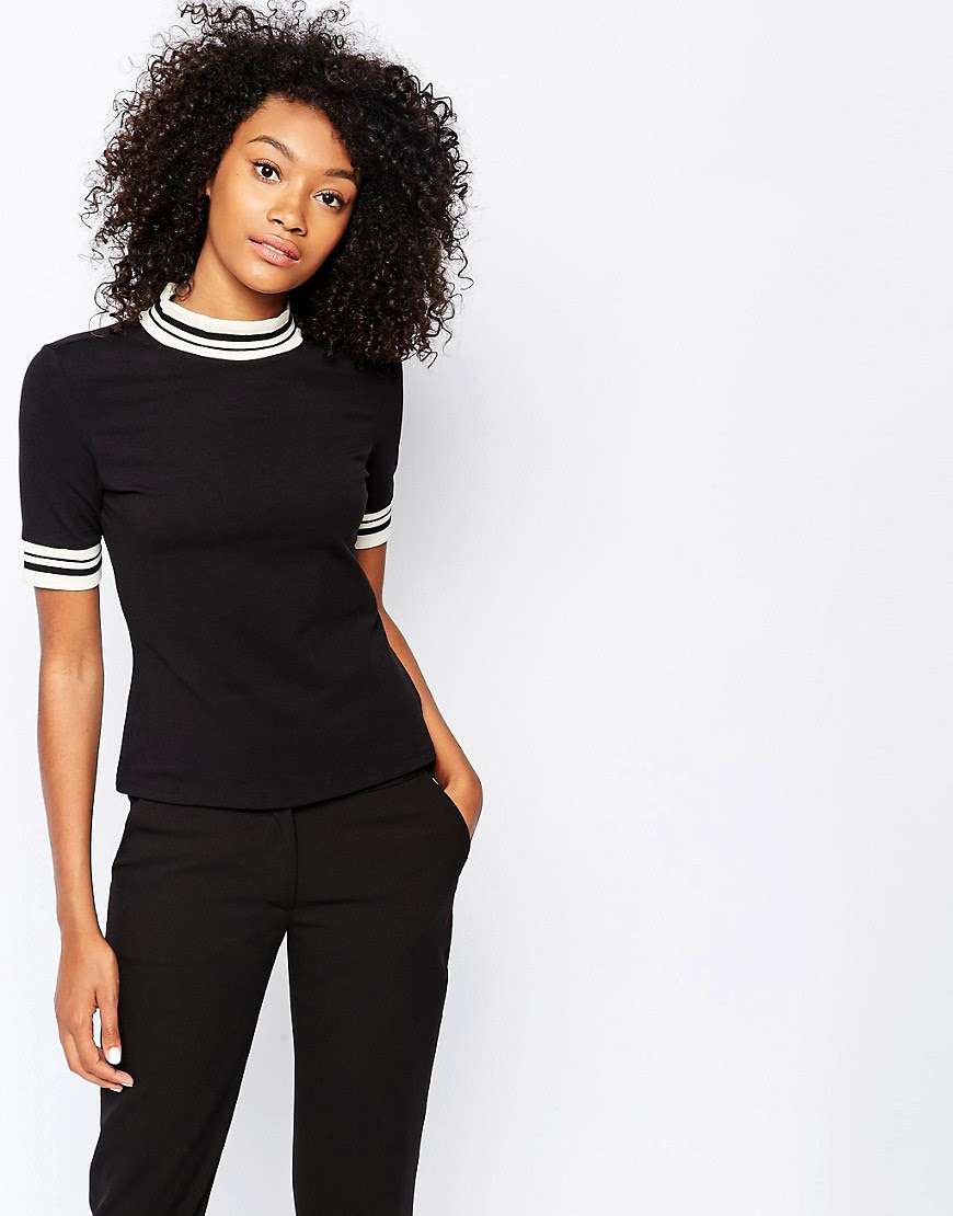 Image 1 of Monki High Neck T-Shirt with Contrast Trim