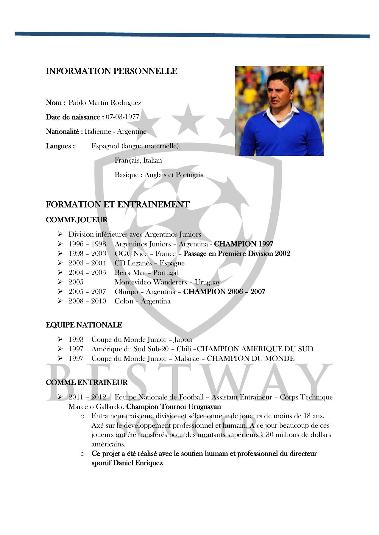 Cv Footballeur