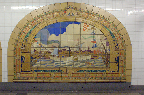 Marine Grill Murals (4/6), Broadway-Nassau Subway Station
