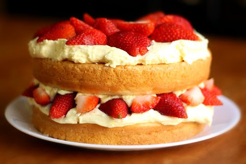 Strawberry Bavarian Cream Cake