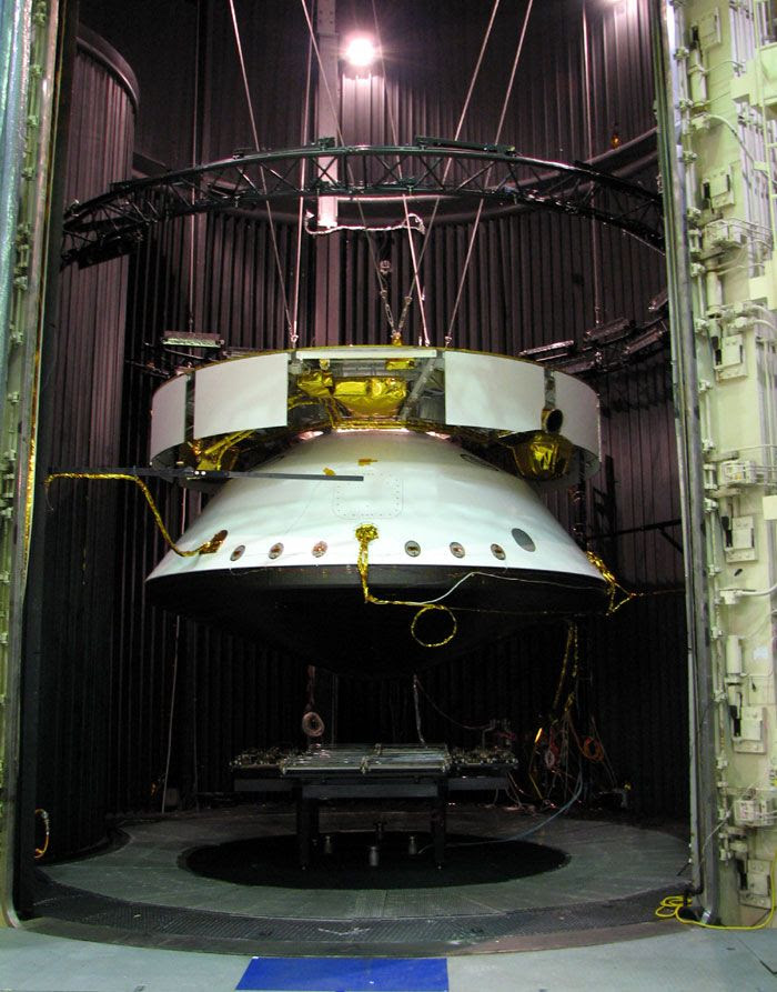 The entire MSL entry vehicle undergoes testing inside a thermal vacuum chamber at NASA's Jet Propulsion Laboratory in California.