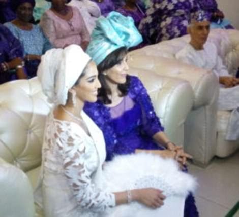 New bride Naza's mother Nooshin pictured together at the couple's earlier wedding in Lagos, Nigeria, in November last year