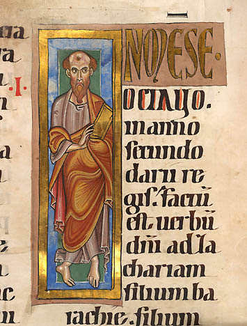 enluminure prophete Zacharie, Allemagne vers 1220