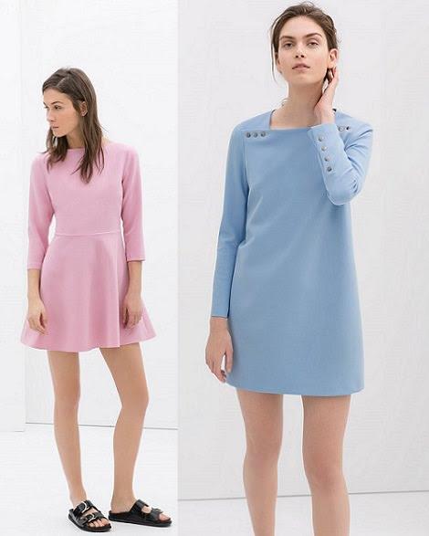 vestidos de zara para mujer en tonos pastel primavera 2014