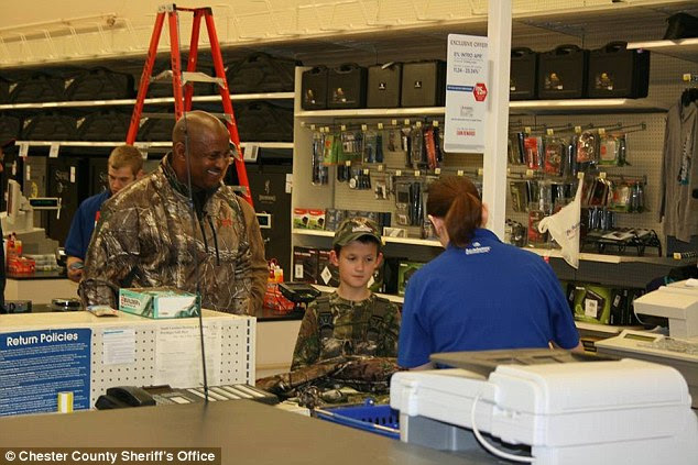 Gear: Sheriff Underwood bought Alex $220 worth of hunting gear - including camo pants, shirt and hat and fishing tackle