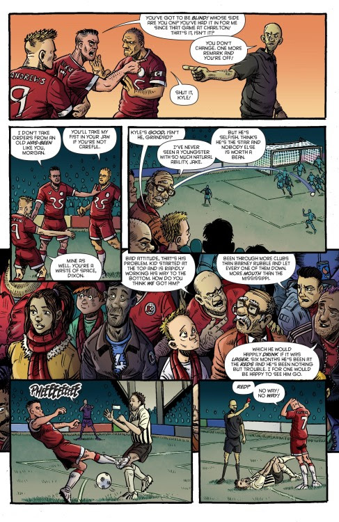 We're just gonna wet your appetite with two preview pages from Rok of the Reds issue 1, pre order at Thought Bubble to get free delivery on the day of release, 2 March 2016.