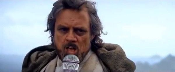 Luke Skywalker takes out a microphone and sings to the tune of the Celine Dion song 'All by Myself.'