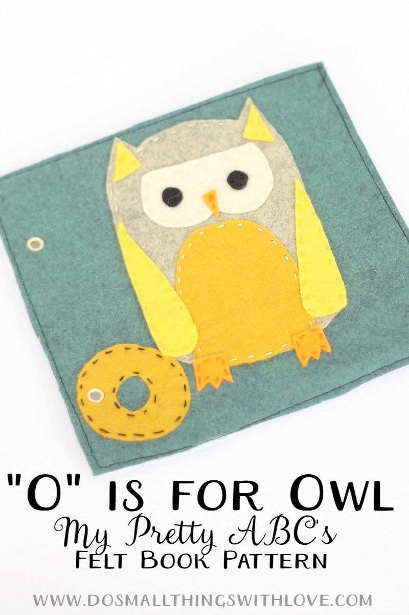 O is for Owl felt book page pattern