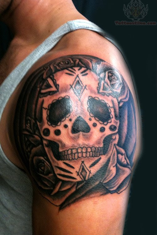 Sugar Skull Back Shoulder Tattoo