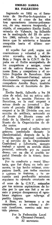 """Necrològica d'Emili Sardà Jordàs apareguda en el periòdic tolosà """"Espoir"""" del 18 de desembre de 1966"""