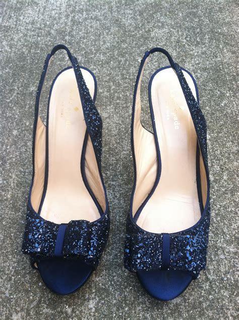 "Kate Spade navy glitter ""Charm"" heels   Once Wed"