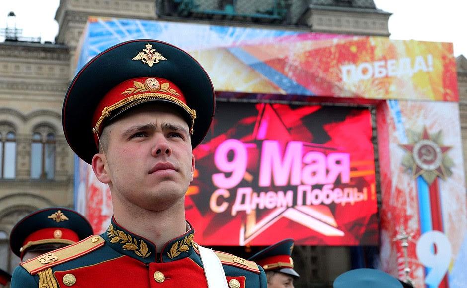 Перед началом военного парада вознаменование 72-й годовщины Победы вВеликой Отечественной войне 1941–1945годов.