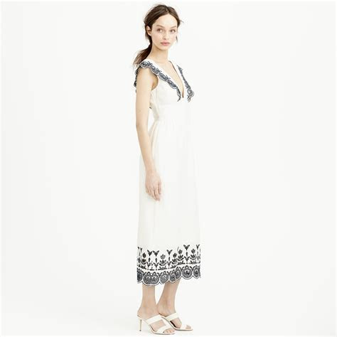 Lyst   J.Crew Collection Embroidered Linen Dress in White