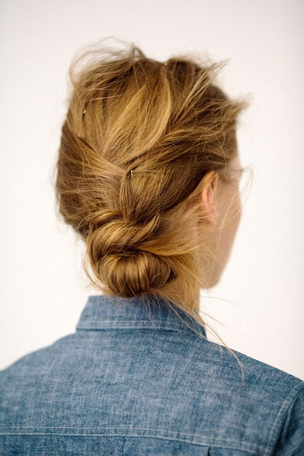 Le Fashion Blog Messy Low Side Knot Bun Chignon Up Do Hairstyle Inspiration Chambray Denim Shirt Via J Crew