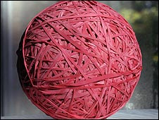 Red rubber band ball