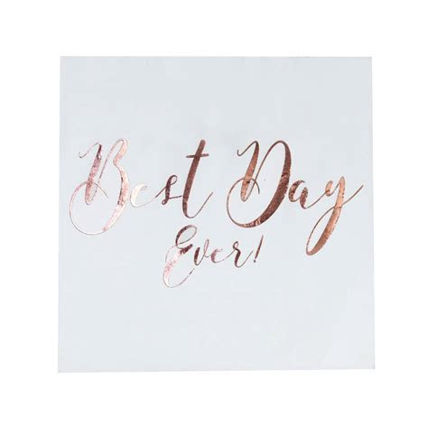 rose gold foiled best day ever wedding paper napkins by