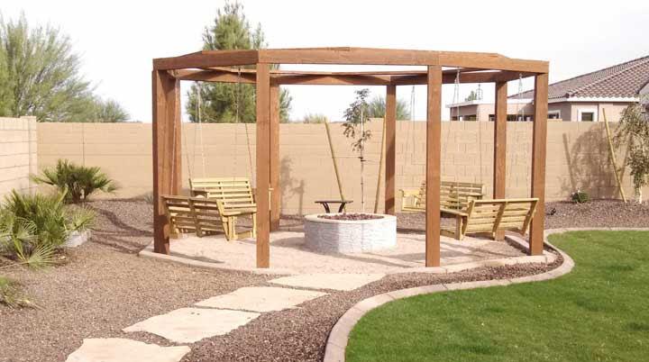 Fire Pit And Pergola Arizona Living Landscape Design