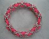 Silver/ Neon Pink Byzantine Chainmaille Bracelet - bjhenchy