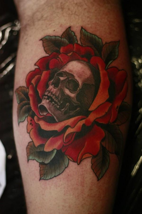 Flowers And Black Red Skull Tattoo Tattoomagz