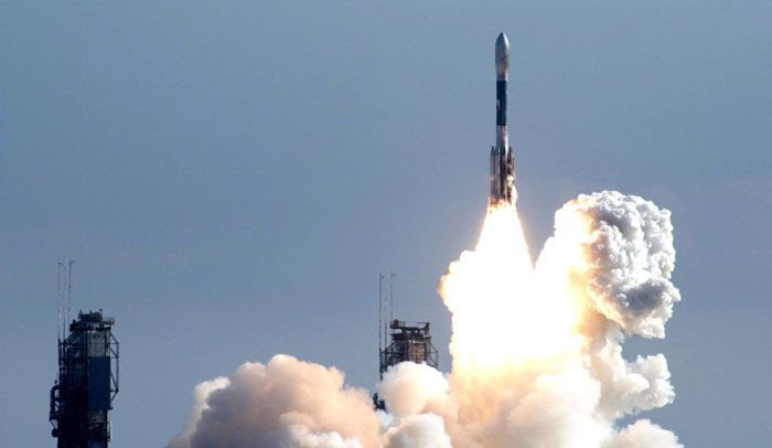 A Delta II rocket carrying the twin GRAIL spacecraft launches from Cape Canaveral Air Force Station in Florida on September 10, 2011.